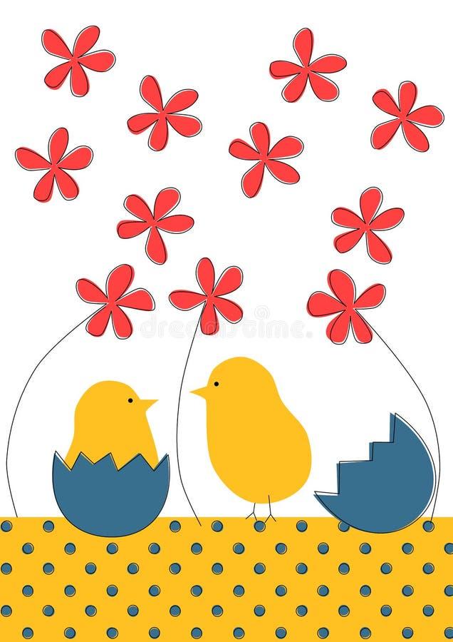 Piccola cartolina d'auguri di Pasqua dei pulcini royalty illustrazione gratis