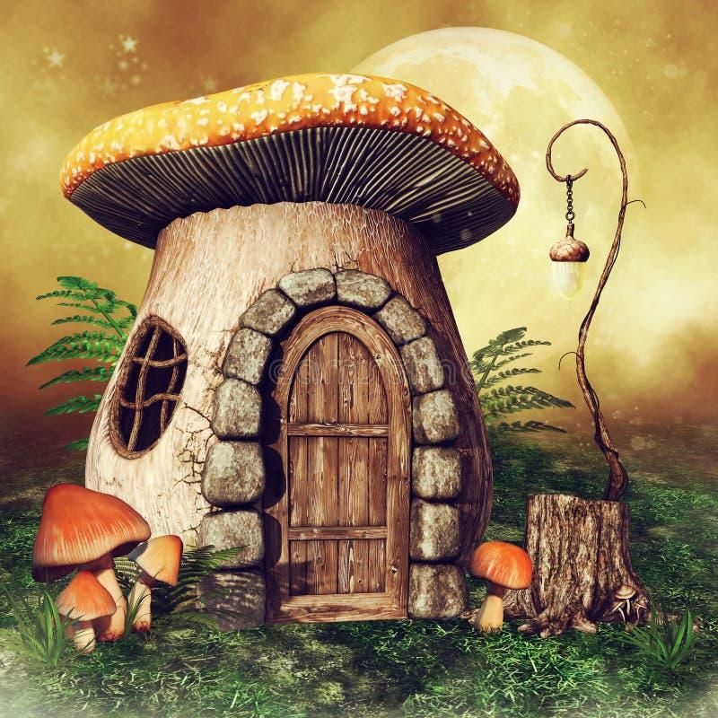 Piccola casa del fungo con una lanterna royalty illustrazione gratis