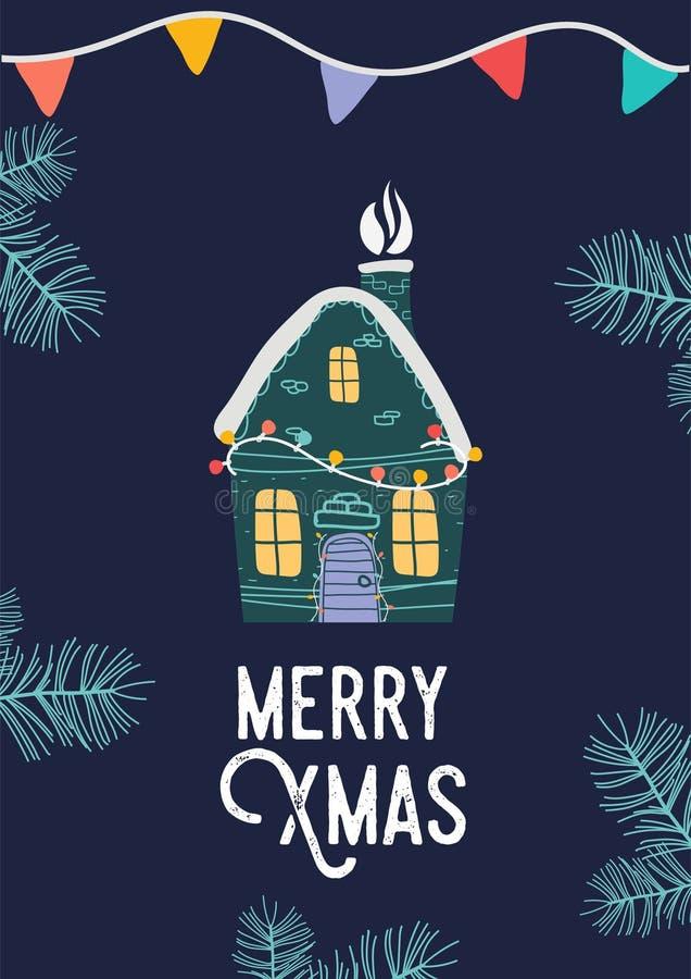 Piccola casa di natale Illustrazione di Buon Natale illustrazione di stock