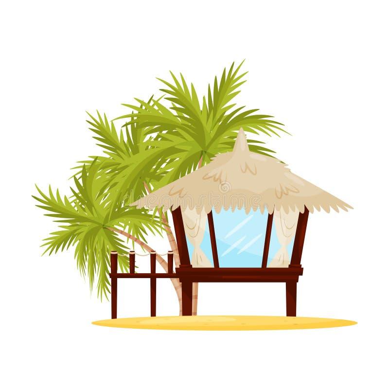 Piccola casa di spiaggia con le grandi finestre Bungalow di legno tropicale e palme verdi su fondo Progettazione piana di vettore royalty illustrazione gratis