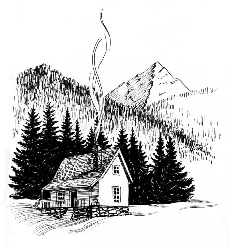 Piccola casa nelle montagne illustrazione vettoriale