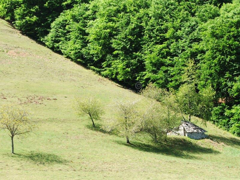 Piccola casa nelle montagne fotografia stock