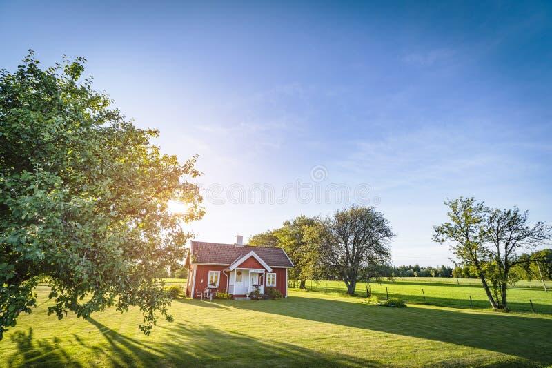 Piccola casa rossa su un paesaggio svedese della campagna immagine stock