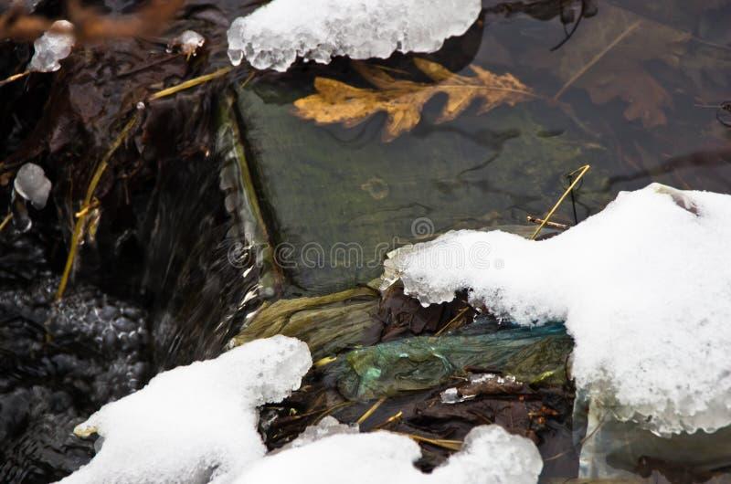 Piccola cascata della corrente non gelata dell'acqua circondata da neve nell'inverno alla montagna Kozomor fotografia stock