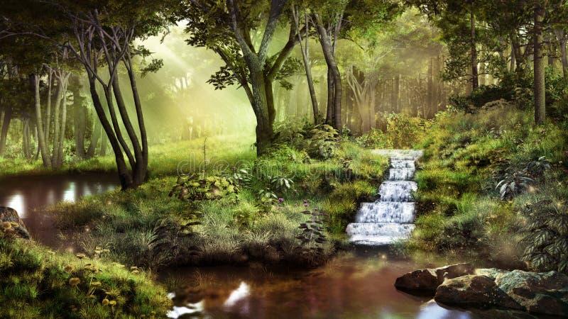 Piccola cascata in una foresta di favola illustrazione vettoriale