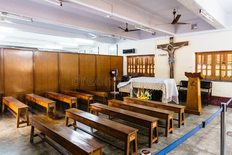 Piccola chiesa nei missionari di carità in Calcutta, India immagine stock libera da diritti