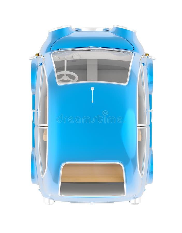 Piccola cima rotonda del blu dell'automobile illustrazione di stock