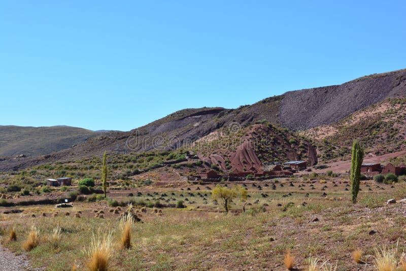 Piccola città dell'azienda agricola in Bolivia immagini stock libere da diritti