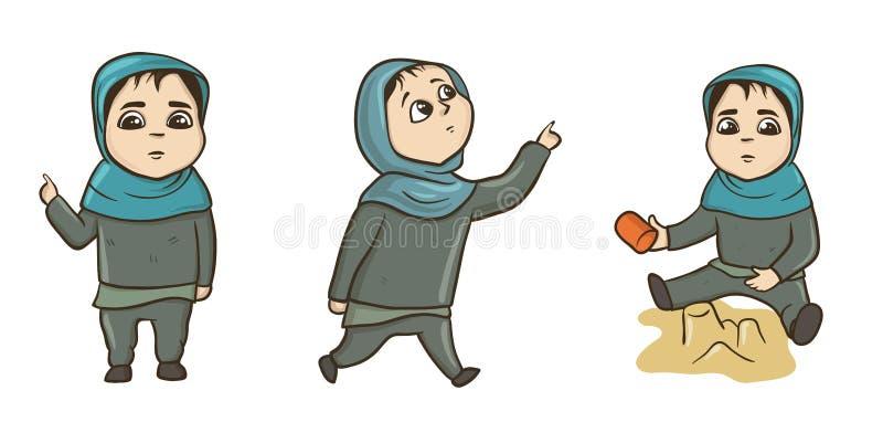 Piccola condizione musulmana della ragazza, camminare, giocante nella sabbiera Insieme dell'illustrazione di vettore, isolato su  illustrazione vettoriale