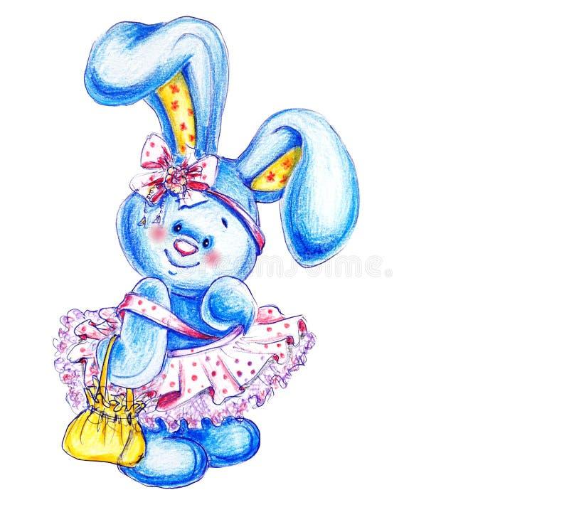 Piccola coniglietta lanuginosa sveglia con le orecchie lunghe negli sguardi di un vestito rosso, dell'arco e della borsa diritto  illustrazione di stock