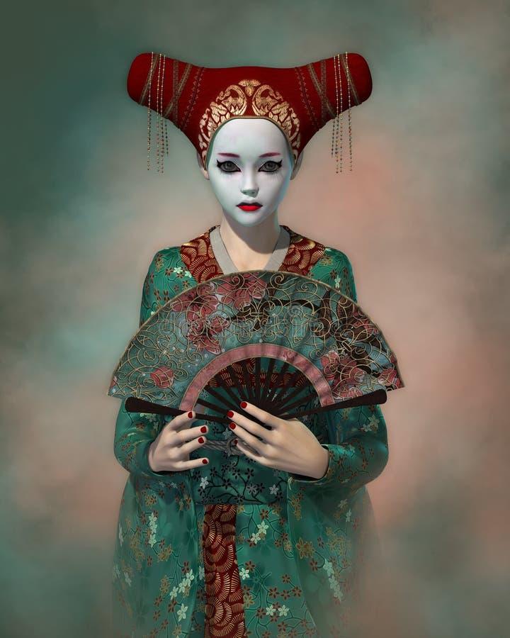 Piccola geisha, 3d CG illustrazione vettoriale