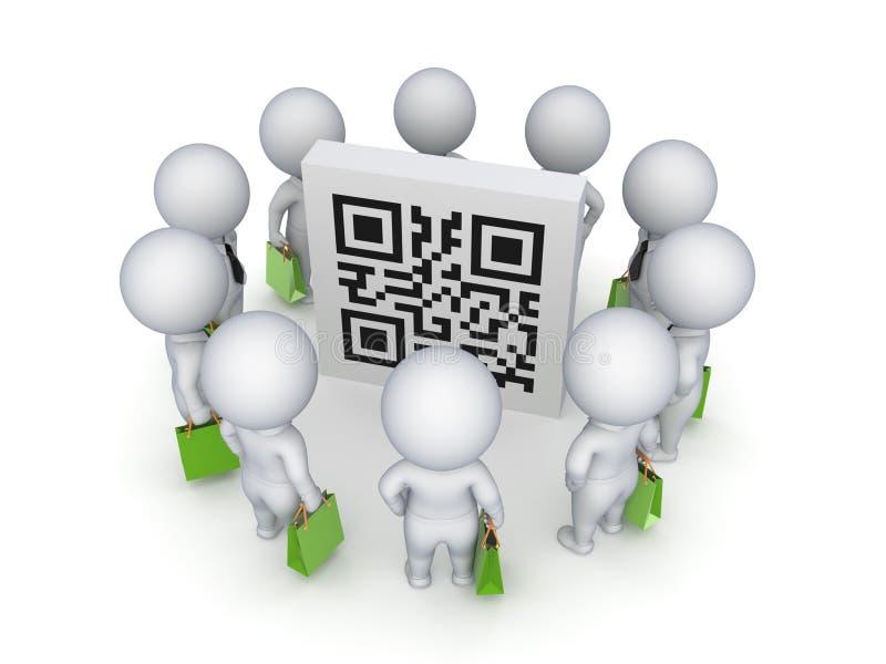 piccola gente 3d con le borse verdi intorno al codice di QR. royalty illustrazione gratis