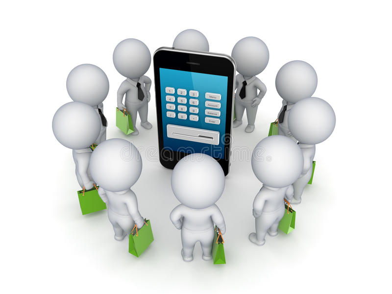 piccola gente 3d intorno al telefono cellulare. royalty illustrazione gratis