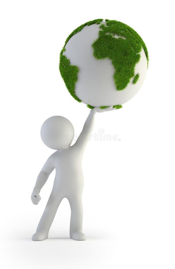piccola gente 3d - inverdica il pianeta illustrazione di stock