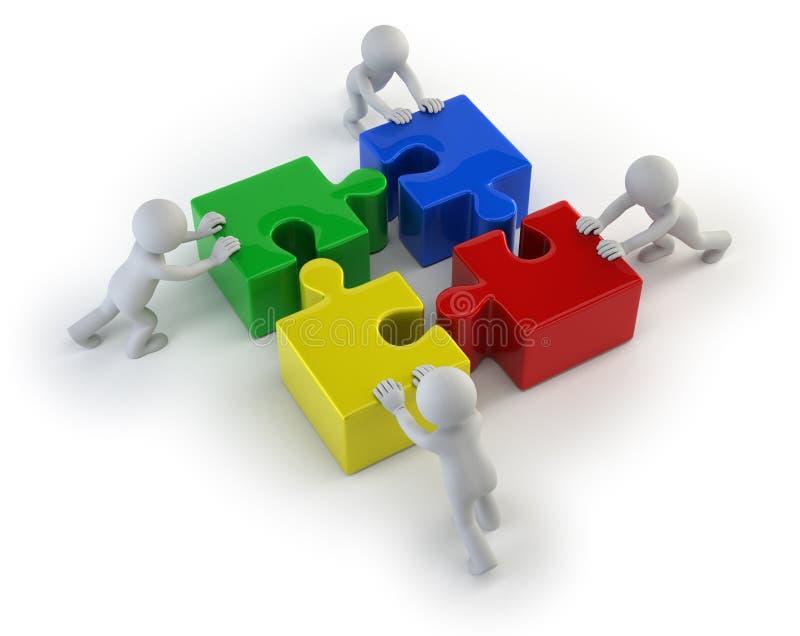 piccola gente 3d - team con i puzzle illustrazione di stock