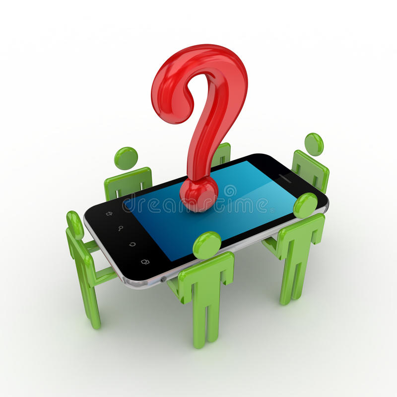 piccola gente 3d, telefono mobile e simbolo di domanda. illustrazione vettoriale
