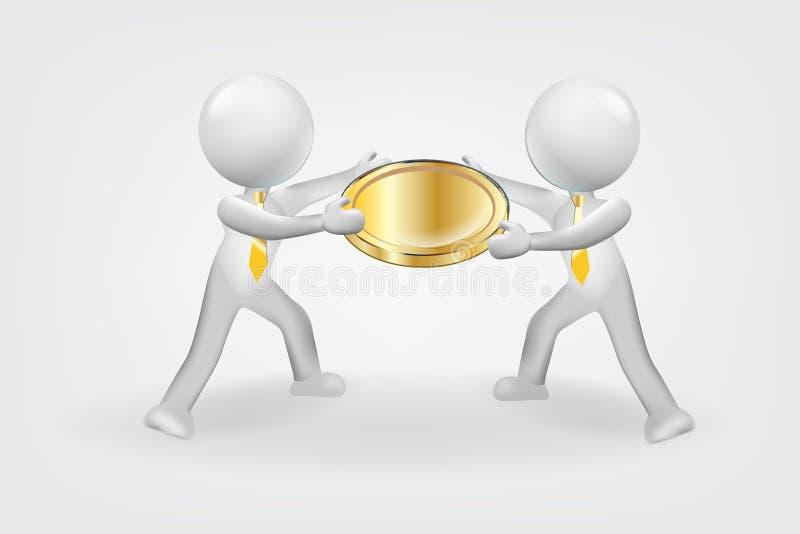 piccola gente 3d Coni la valuta dei soldi e la riuscita illustrazione di riserva finanziaria illustrazione vettoriale