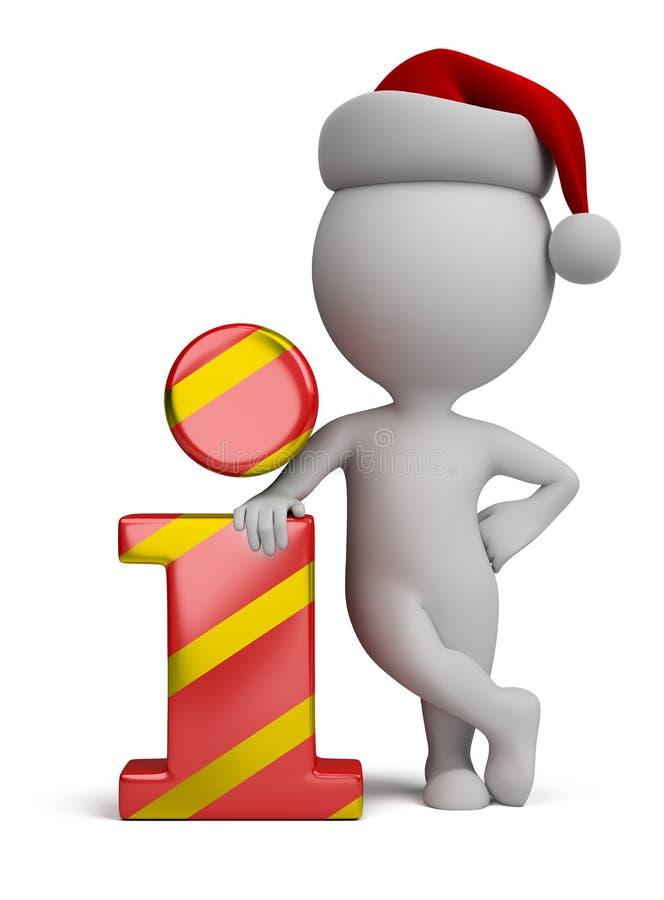 piccola gente 3d - Santa ed icona di informazioni illustrazione vettoriale