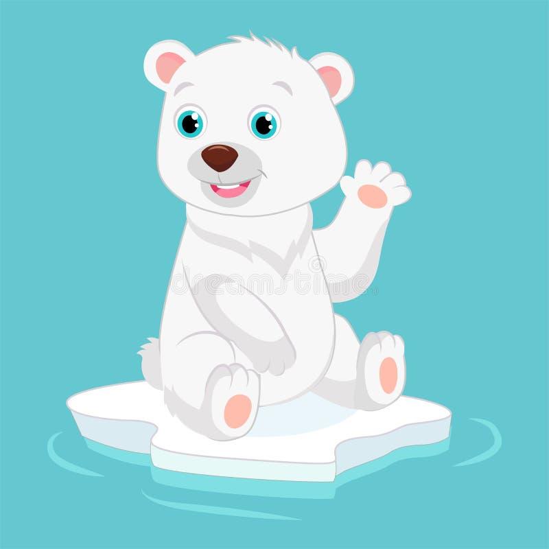 Piccola illustrazione felice sveglia di vettore dell'orso polare Mano d'ondeggiamento sorridente dell'orso polare illustrazione vettoriale