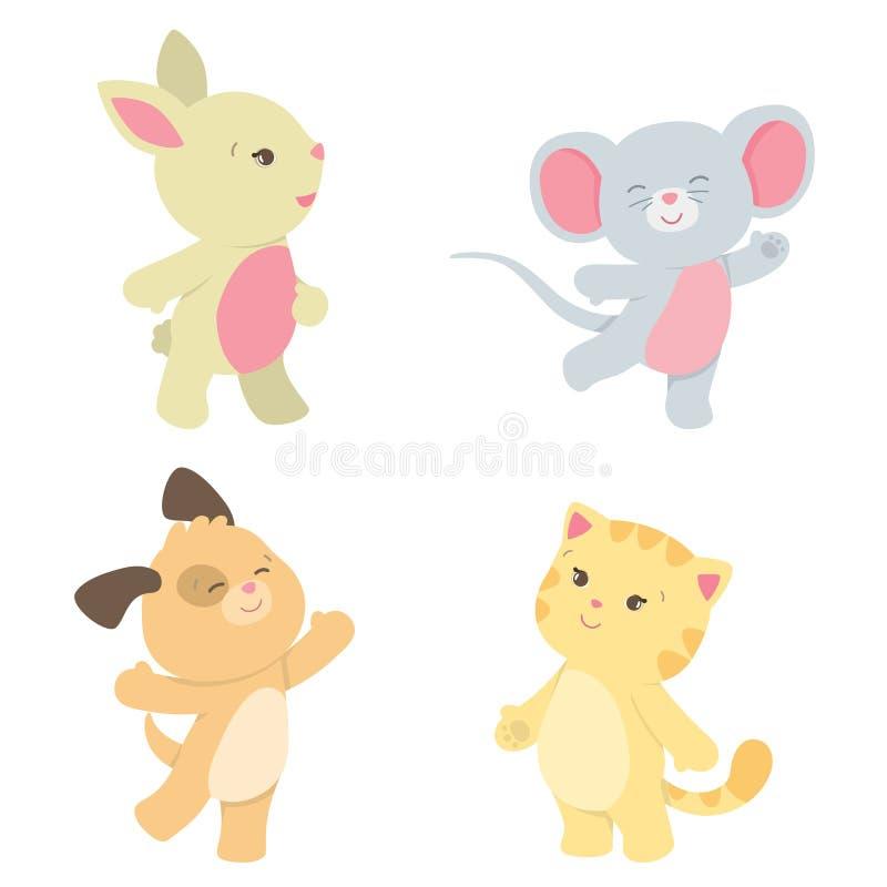 Piccola illustrazione sveglia di vettore degli animali domestici di stile di Kawaii isolata su bianco illustrazione vettoriale