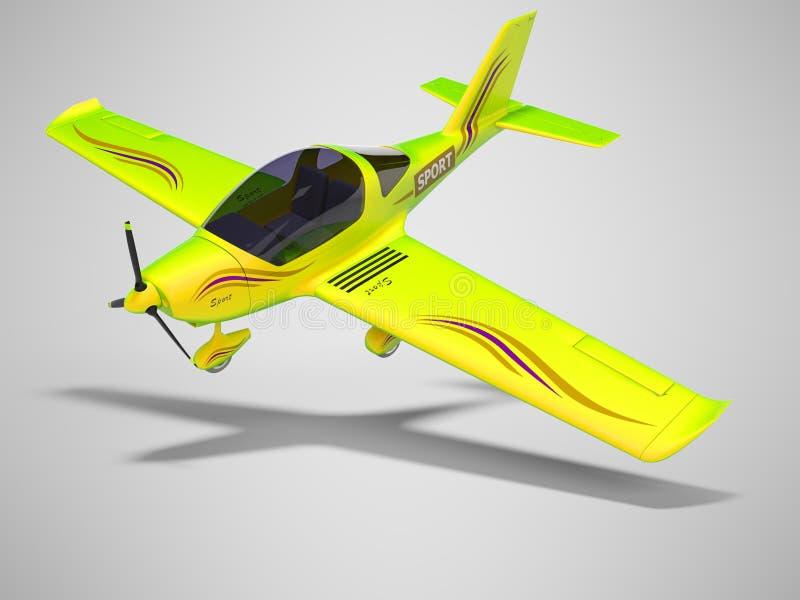 Piccola insalata volante di concetto per il renderer di formazione dei piloti 3d su fondo grigio con ombra royalty illustrazione gratis
