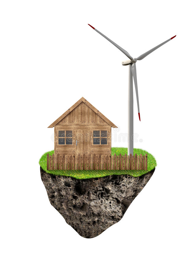 Piccola isola con la casa ed il generatore eolico di legno immagine stock libera da diritti