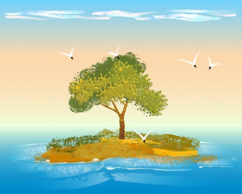 Piccola isola con vegetazione, l'albero, le nuvole e gli uccelli royalty illustrazione gratis