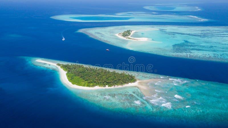Piccola isola tropicale nell'atollo delle Maldive fotografia stock