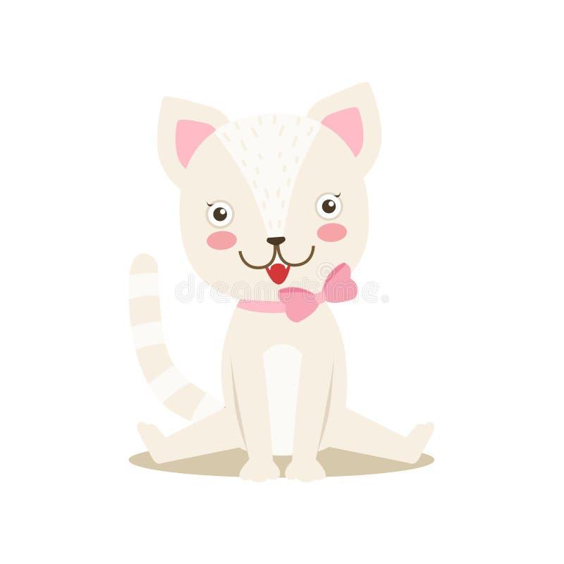 Piccola Kitten With Bow Necklace sveglia Girly bianca, illustrazione di situazione di vita del carattere dell'animale domestico d illustrazione vettoriale