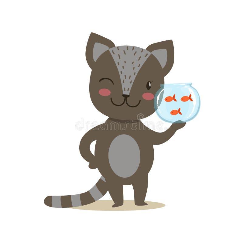 Piccola Kitten Holding Aquarium With Fish sveglia Girly nera, illustrazione di situazione di vita del carattere dell'animale dome royalty illustrazione gratis