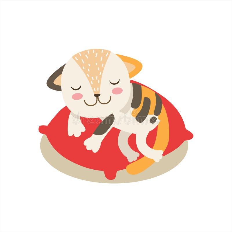 Piccola Kitten Sleeping On sveglia Girly multicolore un cuscino, illustrazione di situazione di vita del carattere dell'animale d illustrazione vettoriale