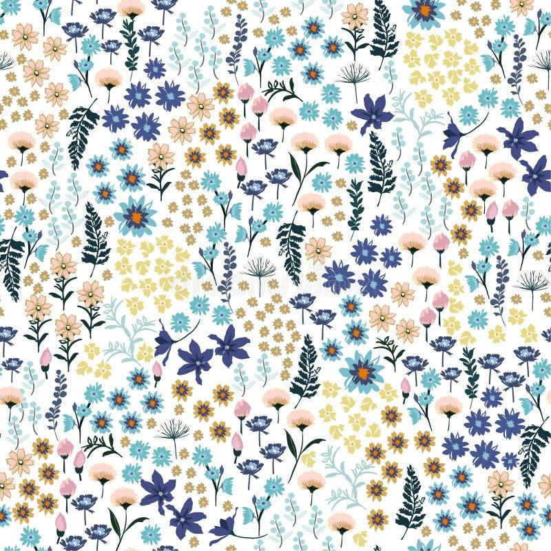 Piccola libertà pastello dolce molta genere di modello di fiori selvaggi Ha illustrazione di stock