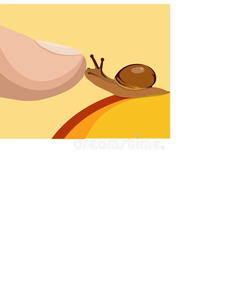 Piccola lumaca sulla frutta e sul dito umano Comunicazione con la natura Umore di amore illustrazione vettoriale