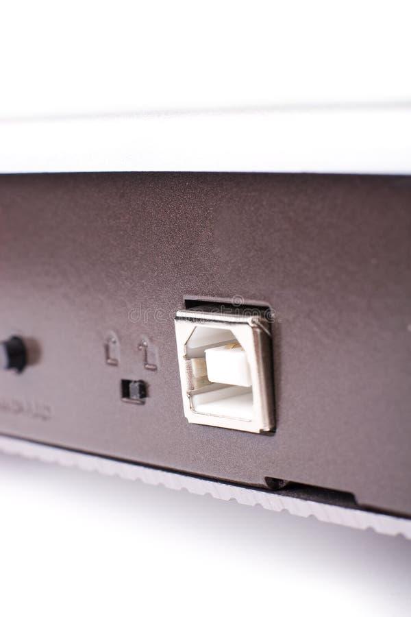 Piccola macro della scanalatura del USB di DOF immagine stock