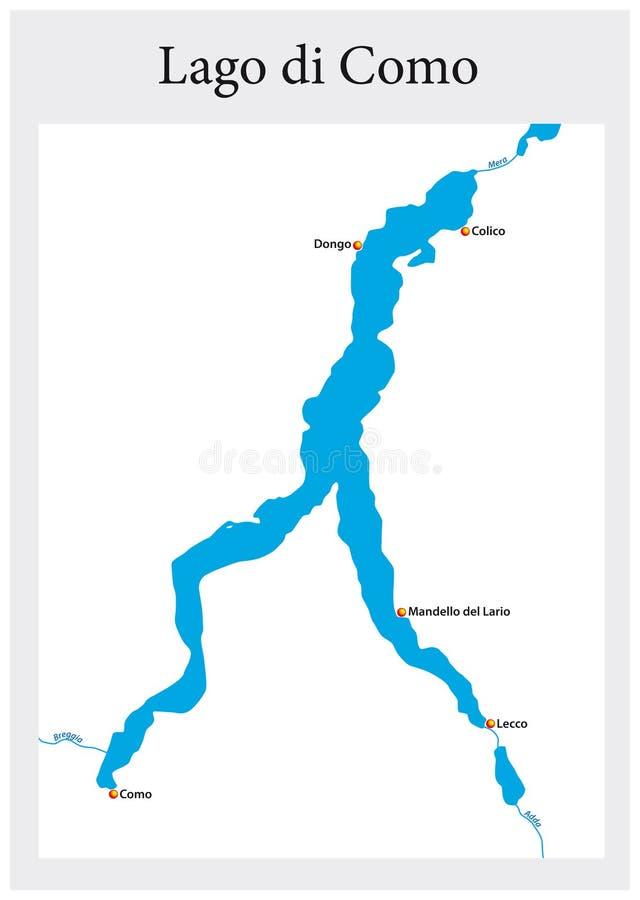 Piccola mappa del profilo del lago italiano superiore Como, Italia illustrazione vettoriale