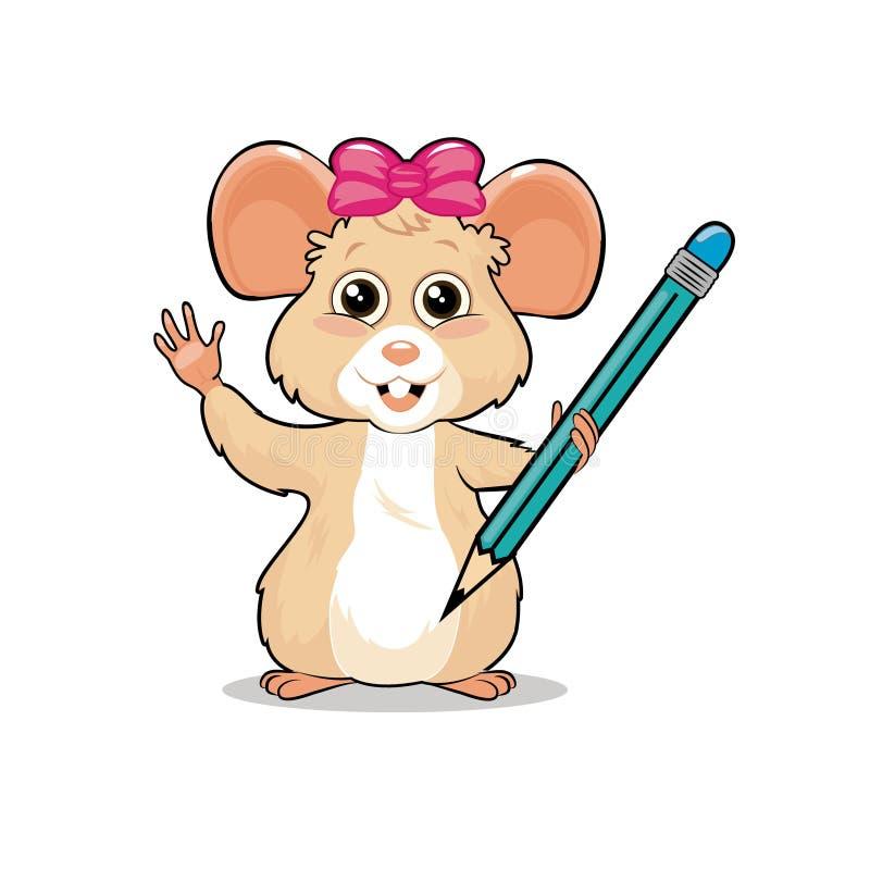 Piccola mascotte femminile amichevole piacevole abile del topo che tiene una matita immagine stock libera da diritti