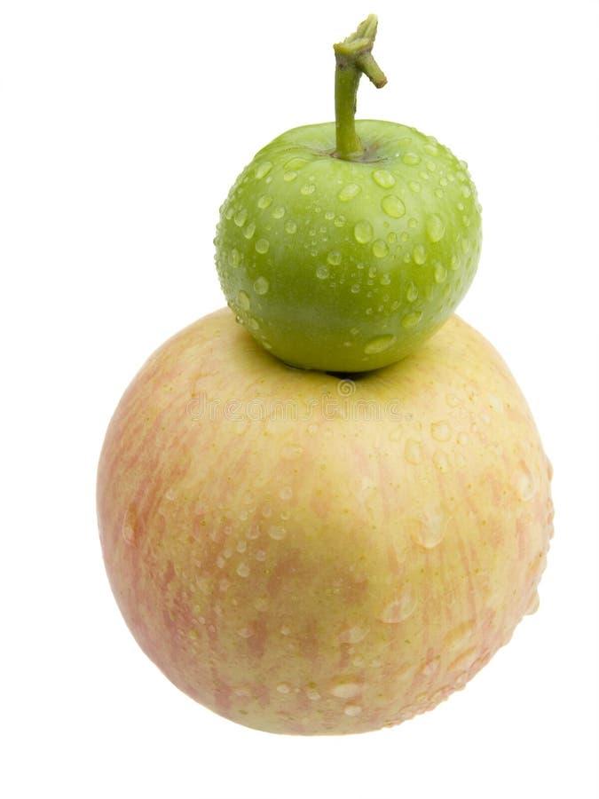 Piccola mela dentellare verde e grande immagini stock libere da diritti
