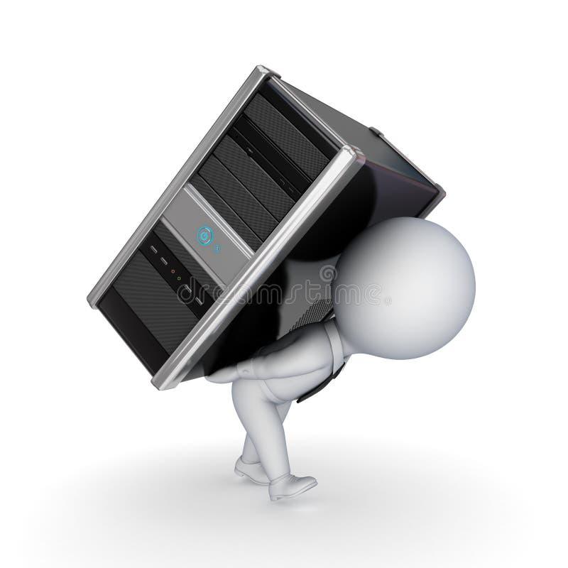 piccola persona 3d con il calcolatore. illustrazione di stock