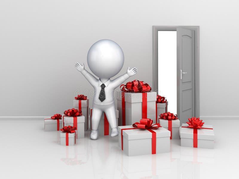 Piccola persona felice 3d con molti contenitori di regalo. royalty illustrazione gratis