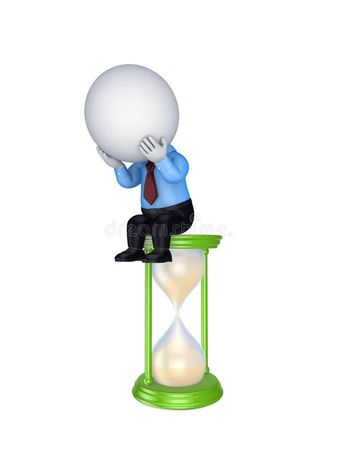 Piccola persona triste 3d che si siede su un vetro della sabbia. illustrazione di stock
