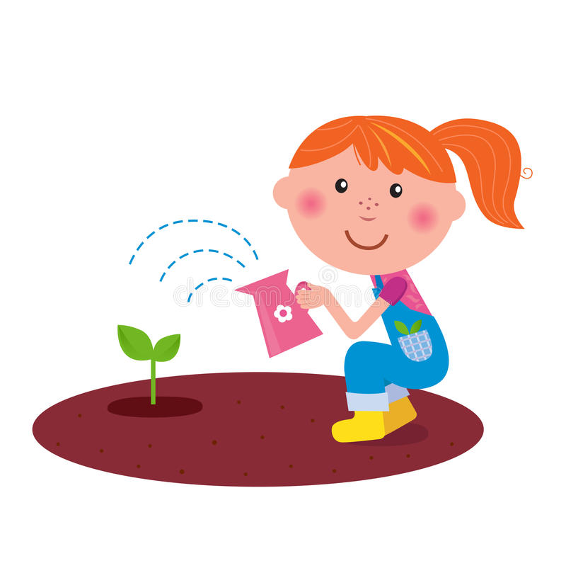Piccola pianta di innaffiatura della ragazza del giardiniere nel giardino illustrazione di stock