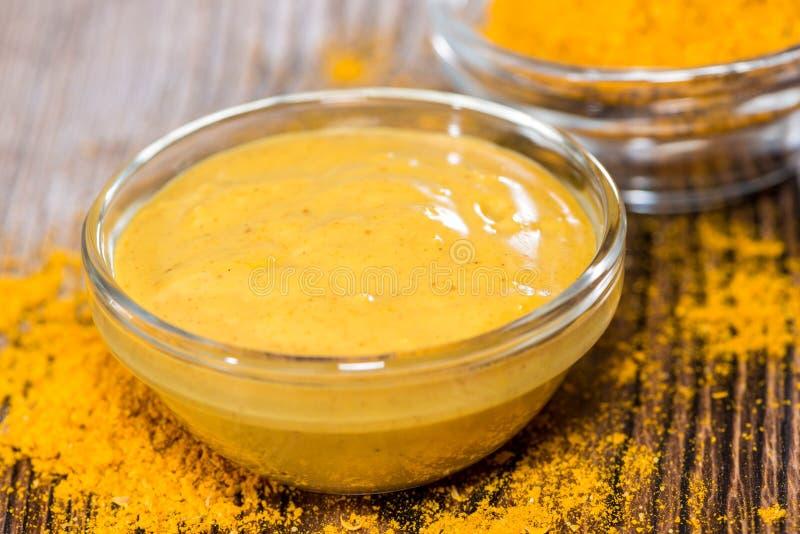 Piccola porzione di salsa di curry immagine stock