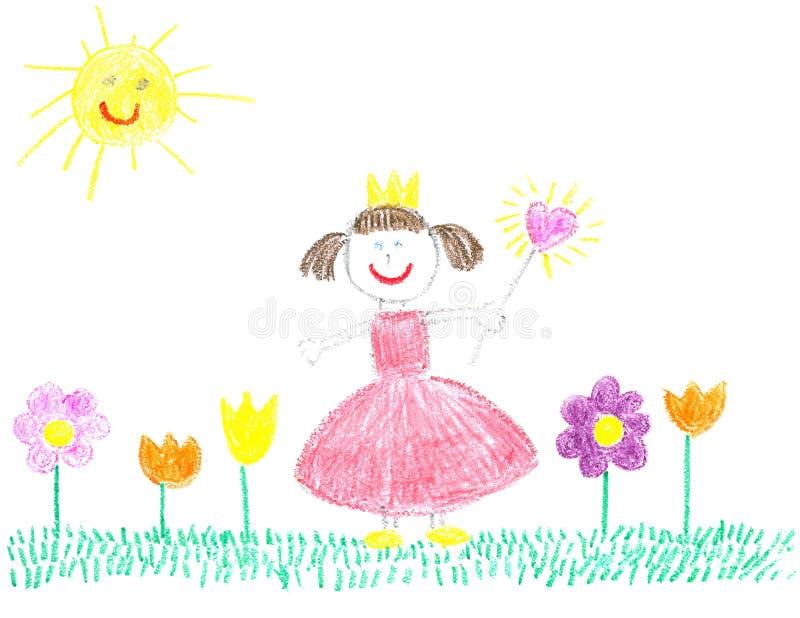 Piccola principessa con i bei fiori immagine stock