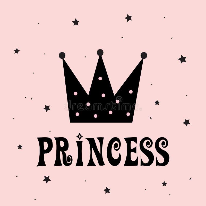 Piccola principessa con lo slogan della corona royalty illustrazione gratis
