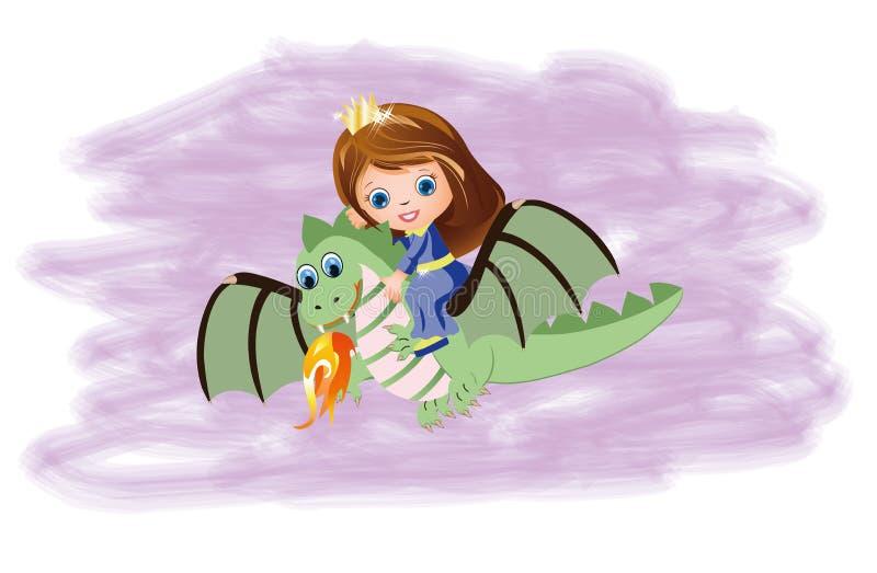 Piccola principessa e drago magico illustrazione di stock