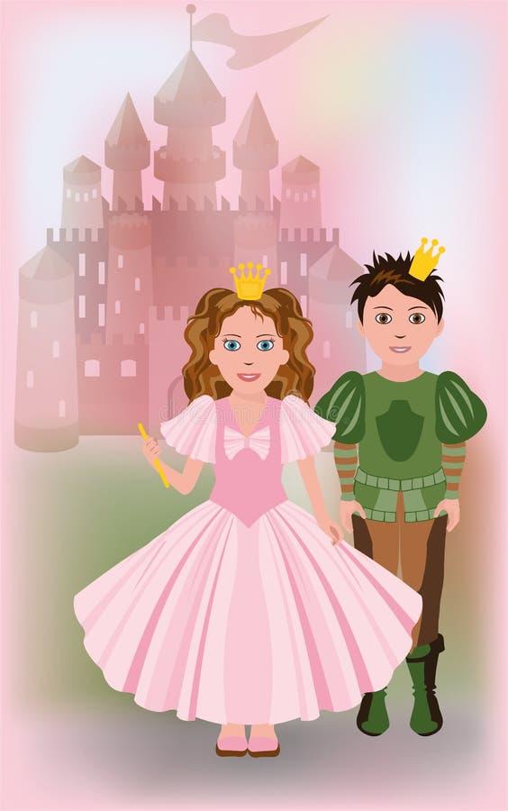 Piccola principessa sveglia con principe royalty illustrazione gratis