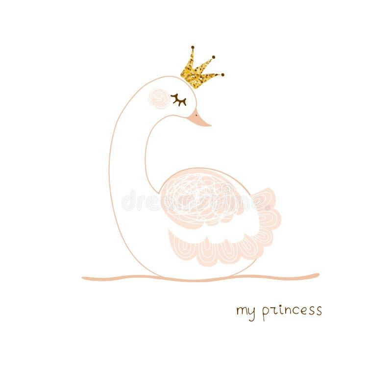 Piccola principessa sveglia del cigno con la carta dell'illustrazione di vettore della corona dell'oro illustrazione vettoriale
