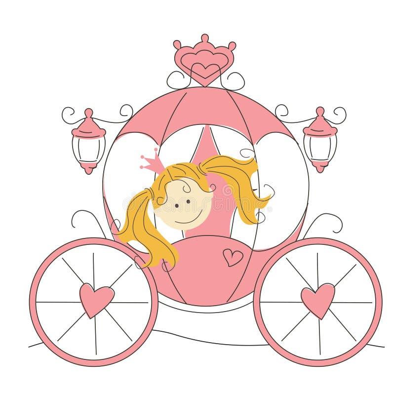 Piccola principessa sveglia nel carrello illustrazione vettoriale