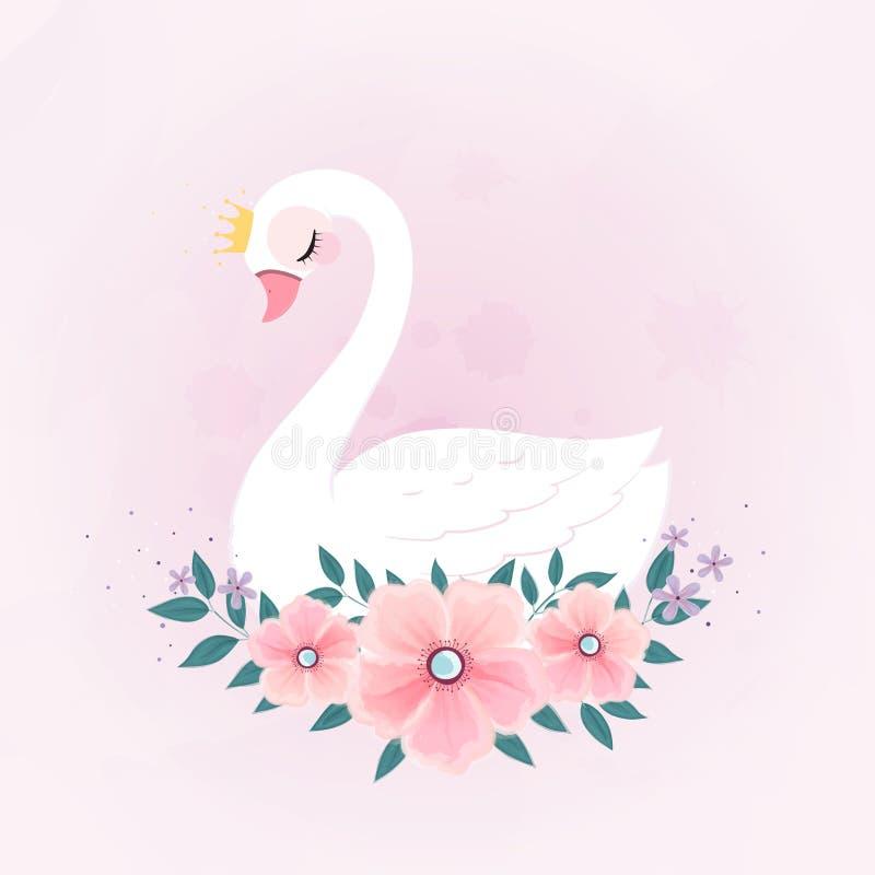 Piccola principessa sveglia Swan con il mazzo del fiore illustrazione di stock
