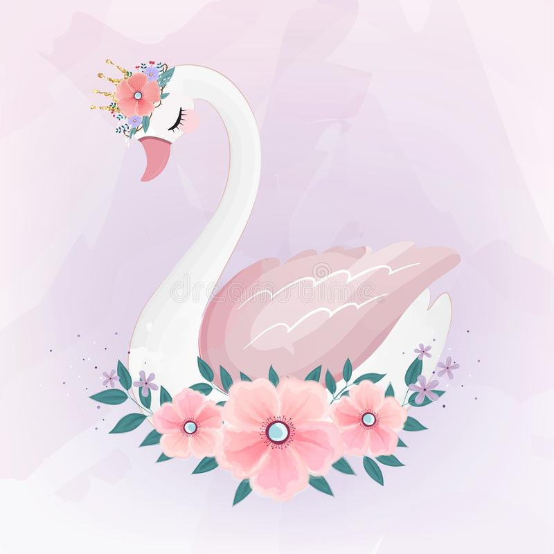 Piccola principessa sveglia Swan con il mazzo del fiore royalty illustrazione gratis